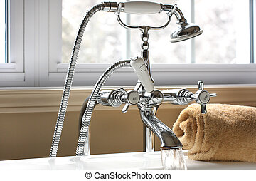 Bath faucet - Bath water faucet with running spout and...