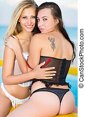 Two pretty women in lingerie