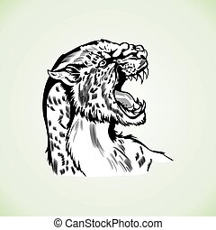 Figure tiger panther head aggressive wildcat drawing tattoo