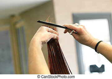 Hairdresser Cutting Hair Ends
