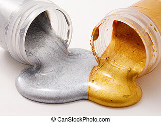 Silver and gold gouache colors - Silver and gold colors,...