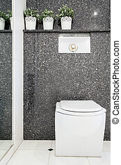Lavatory in modern toilet - Vertical view of lavatory in...