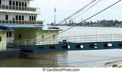 River Ship Deck Bridge - Access bridge between the shore and...