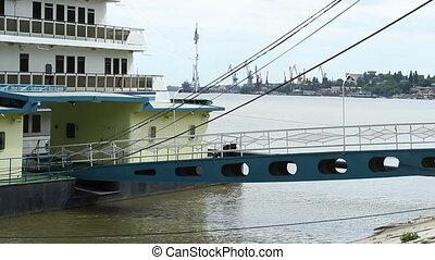 River Ship Deck Bridge - Access bridge between the shore and...