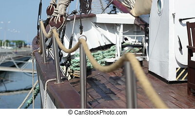 Rope Railing on Yacht - Shifting focus shot of the rope...