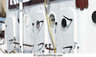 Old Cabins on Deck - Vintage doors on the deck of an old...