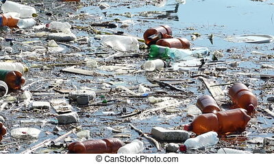 Lake Water Pollution - Plastic bottles and others junks...