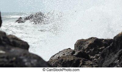Big Waves Break on Rocks