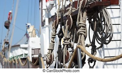 Knots on Old Ship - Several types of knots used on an older...