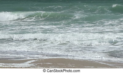 Powerful Stormy Sea Waves - Close up shot with strong waves...