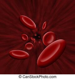 Plaqueta, células, fluir, por, sangre