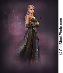 Elegant Fairytale Princess, 3d CG - 3d computer graphics of...