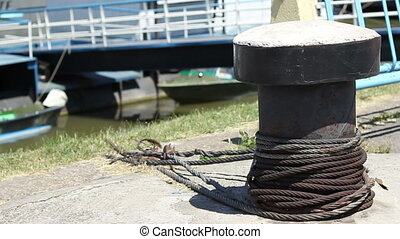 Steel Cables on Wharf - Hard steel cables for mooring...
