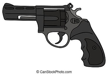 Revolver - Hand drawing of a big modern revolver - not a...