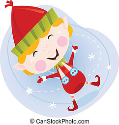 Santa christmas elf in red costume - Cute christmas elf in...