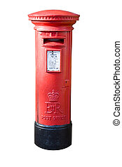 Classic british pillar box isolated on white - English post...