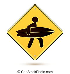 Yellow and black caution sign with surfer - Yellow and black...