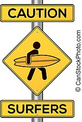 Caution surfers vector yellow road sign