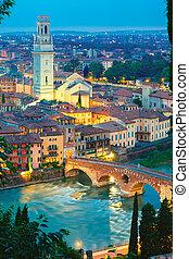 Ponte Pietra and Adige at night, Verona, Italy