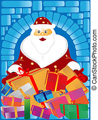 Santa Claus and gifts - Santa Claus and gifs on a blue...