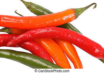 Pepper - Various colored pepper on a withe isolated...