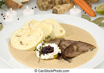 The roast sirloin w cream sauce and dumplings