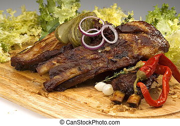 Grilled ribs w pickle lettuce and pepper