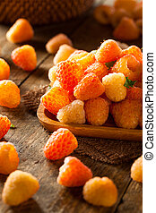 Raw Organic Orange Sunshine Raspberries Ready to Eat