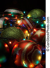 christmas balls with a shone garland