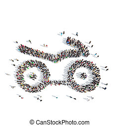 people in the shape of a motor scooter. - A large group of...