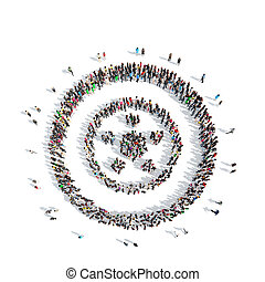people in the shape of wheels. - A large group of people in...