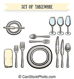 Tableware - Set of hand drawn tableware. Vector...