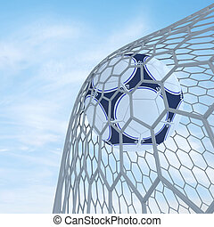Soccer - Football scored. 3d render. On blue sky.