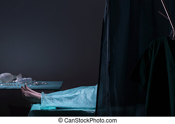 corps, dans, morgue,