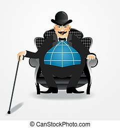 banker sitting with a cane - illustration of angry rich...