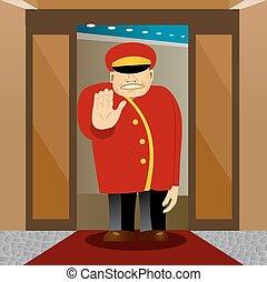 bellhop showing stop gesture - illustration of angry bellhop...