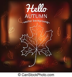 Card with autumn symbols scattered on the background of...