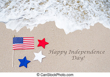 Happy Independence Day USA background with flag on the sandy...