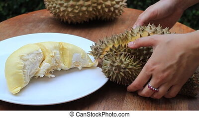 Serving Delicious Thai Durian Fruit, Stock Video