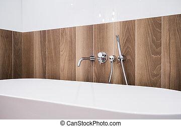 bañera, y, de madera, panel,