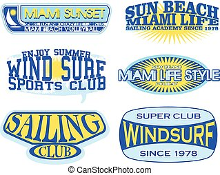 Set of retro vintage nautical labels and badges logo...