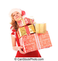 Miss Santa is Carrying too Many Presents