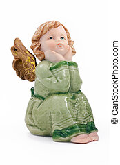 christmas angel - cute thoughtful christmas angel isolated...