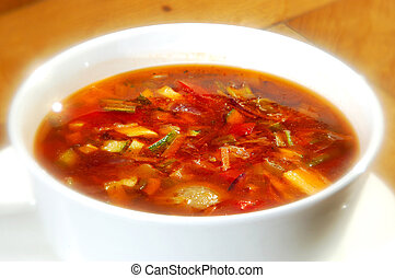 The minestrone soup in white cup