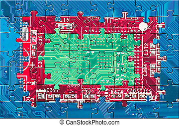 Abstract color electronic circuit board puzzle background in blue, red and green colors