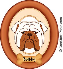 Bulldog Dog Portrait, Frame, Bone - Bulldog portrait in...