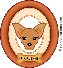 Chihuahua Dog Portrait, Frame, Bone - Chihuahua dog portrait...