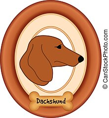 Daschund Dog Portrait, Frame, Bone - Dachshund dog portrait...