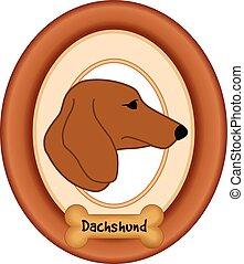 Daschund Dog Portrait, Frame, Bone