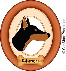Doberman Dog Portrait, Frame, Bone - Doberman Pinscher dog...